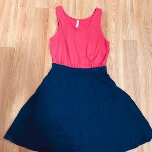 Pink and navy empire waist dress